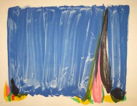 Lithographie Debré - Composition bleu & rose