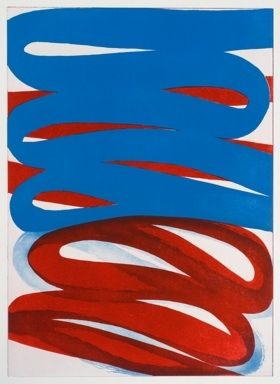 Eau-Forte Et Aquatinte Clement - Composition bleu rouge