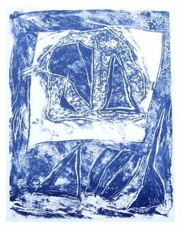 Lithographie Humair - Composition bleue 1