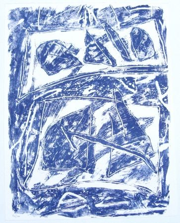 Lithographie Humair - Composition bleue 2
