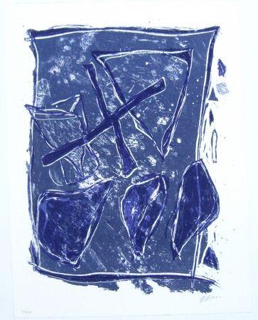Lithographie Humair - Composition bleue et mauve