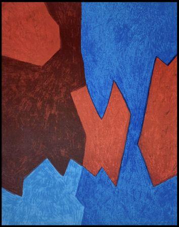 Lithographie Poliakoff - Composition Bleue et Rouge