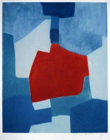 Gravure Poliakoff - Composition bleue et rouge