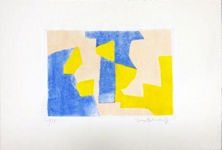 Eau-Forte Et Aquatinte Poliakoff - Composition Bleue rose et jaune