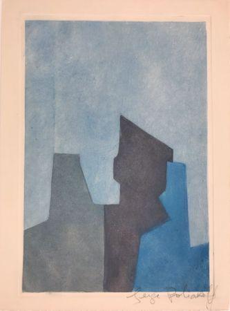 Eau-Forte Et Aquatinte Poliakoff - Composition bleue XXIV