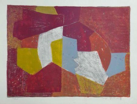 Lithographie Poliakoff - Composition Carmin, Brune, Jaune et Grise