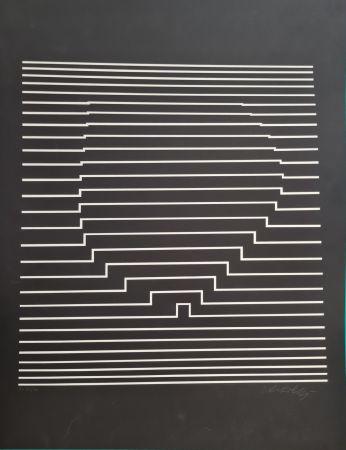 Sérigraphie Vasarely - COMPOSITION CINETIQUE NOIRE ET BLANCHE