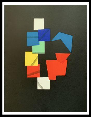 Lithographie Agam - Composition couleurs sur fond noir
