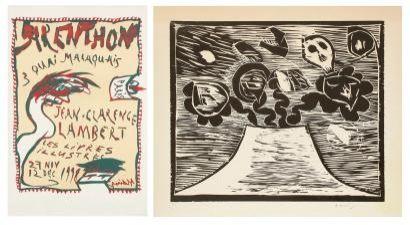 Gravure Sur Bois Alechinsky - Composition crane et fleurs