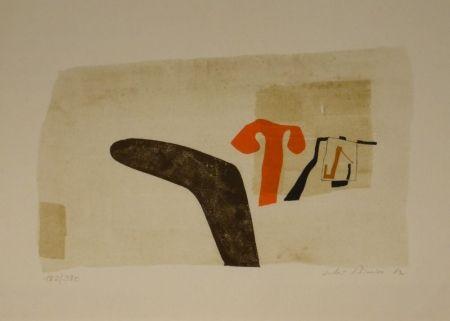 """Lithographie Bissier - Composition (""""die Dinge des Lebens verlieren ihre Namen…"""")."""