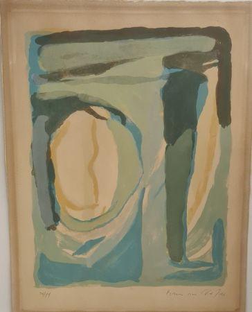 Lithographie Van Velde - Composition en bleu et vert