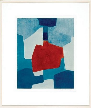 Aquatinte Poliakoff - Composition en blue and rouge