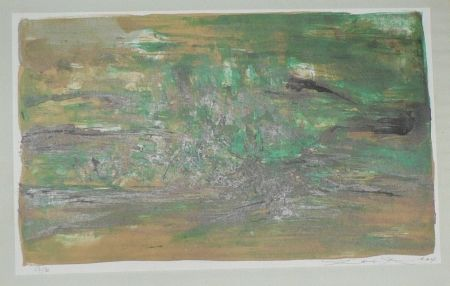Lithographie Zao - Composition En Vert