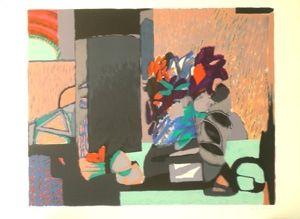 Lithographie Godard - Composition florale