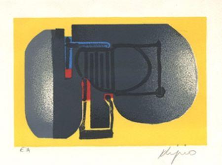 Lithographie Kijno - Composition fond jaune