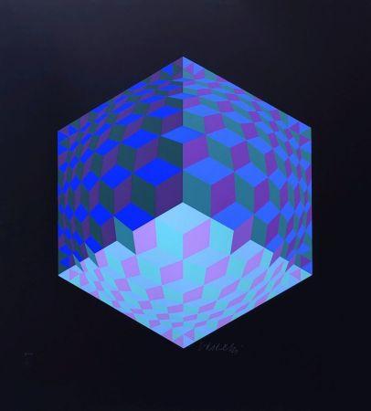 Sérigraphie Vasarely - Composition géométrique
