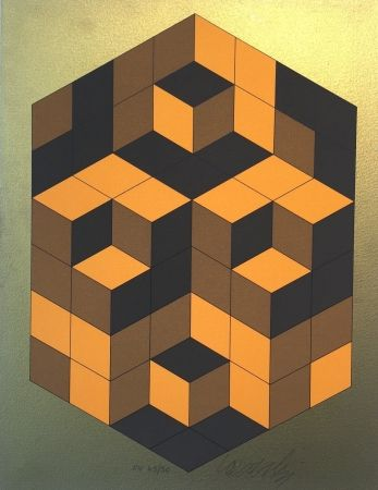 Sérigraphie Vasarely - Composition Gold