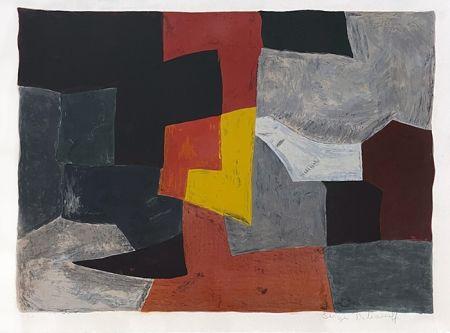 Lithographie Poliakoff - Composition grise rouge et jaune