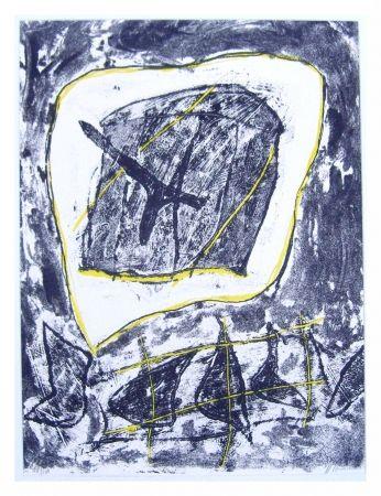 Lithographie Humair - Composition jaune et noire 1