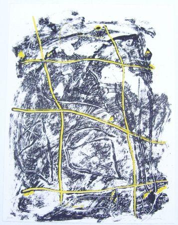 Lithographie Humair - Composition jaune et noire 2