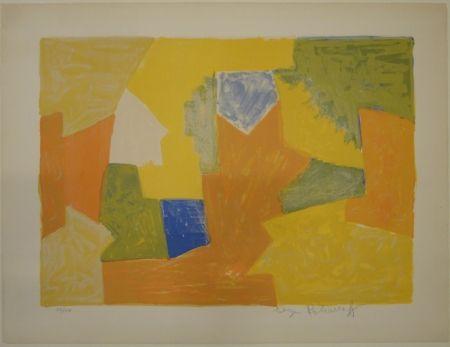Lithographie Poliakoff - Composition jaune, orange et verte / Komposition Gelb, Orange und Grün.