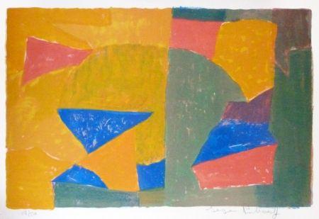 Lithographie Poliakoff - Composition jaune, verte, bleue et rouge