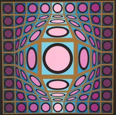 Sérigraphie Vasarely - Composition Microcosmos IV