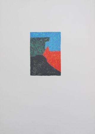 Lithographie Poliakoff - Composition noire, bleue et verte