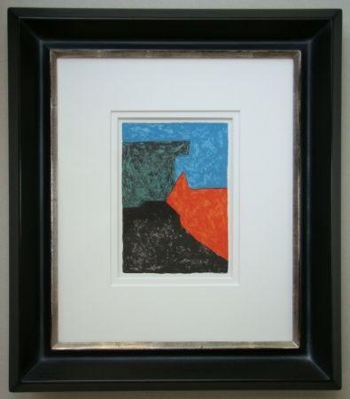 Lithographie Poliakoff - Composition noire, rouge, bleue et verte