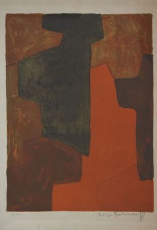 Lithographie Poliakoff - Composition Orange et verte n°43