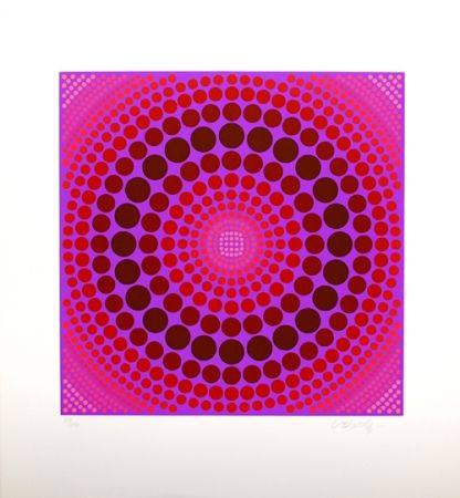Sérigraphie Vasarely - Composition rose