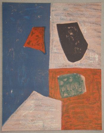 Lithographie Poliakoff - Composition rose, rouge et bleue