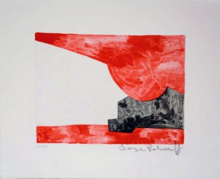 Lithographie Poliakoff - Composition rouge, blanche, noire n°42
