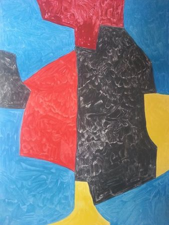 Lithographie Poliakoff - Composition rouge bleu jaune