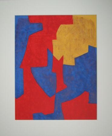 Lithographie Poliakoff - Composition rouge, bleue et jaune