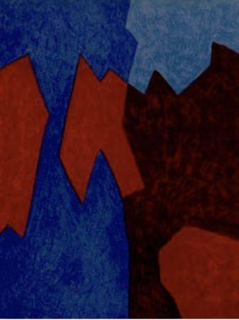 Lithographie Poliakoff - Composition rouge et bleu