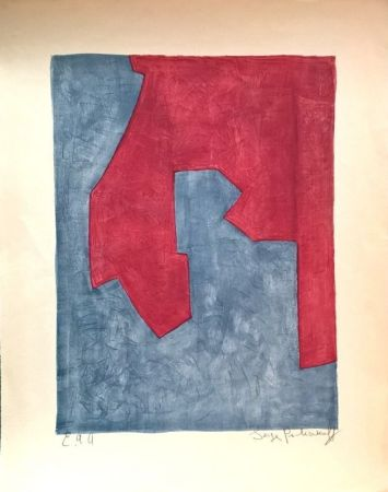 Lithographie Poliakoff - Composition Rouge et Bleue n°49