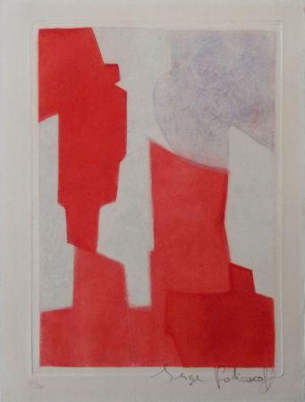 Eau-Forte Et Aquatinte Poliakoff - Composition rouge et bleue n°XX