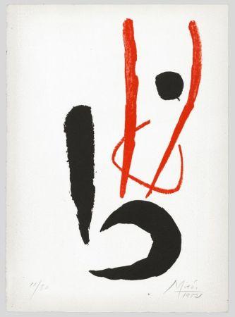 Lithographie Miró - Composition rouge et noire (Danseur / Dancing figure) 1952