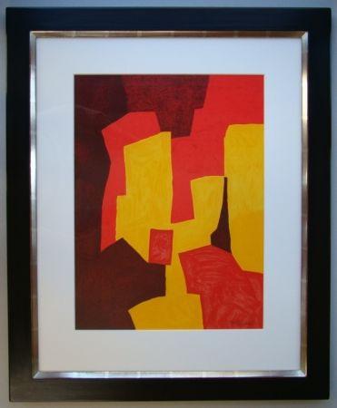 Lithographie Poliakoff - Composition rouge, jaune et brune