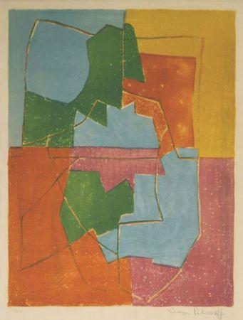 Lithographie Poliakoff - Composition Rouge Verte Bleue et Jaune n°12
