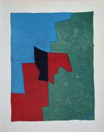 Lithographie Poliakoff - Composition rouge, verte et bleue