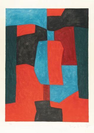 Lithographie Poliakoff - Composition rouge, verte et bleue n°76