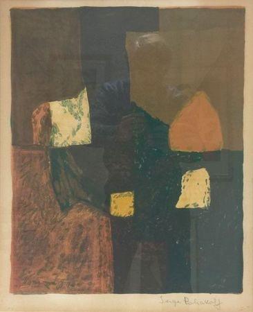 Lithographie Poliakoff - Composition rouge, verte et jaune n°7