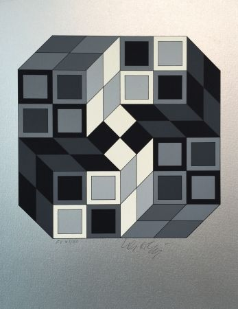 Sérigraphie Vasarely - Composition Silver
