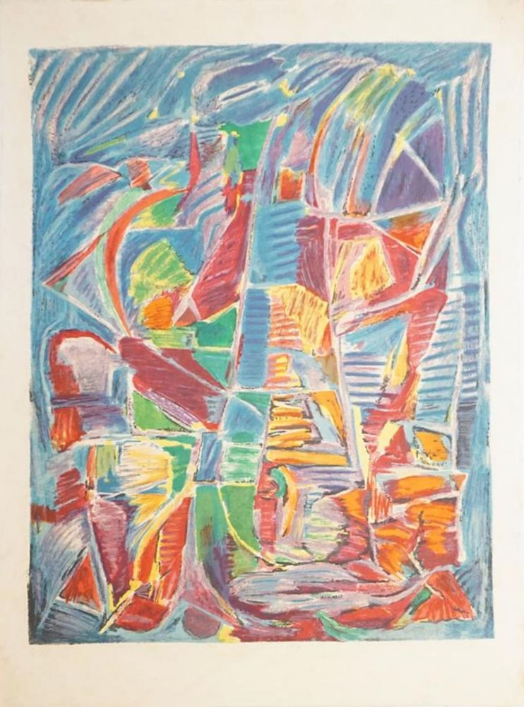Lithographie Lanskoy - Composition sur fond bleu