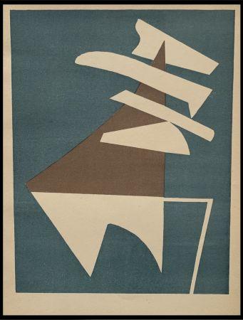 Lithographie Magnelli - Composition sur fond bleu