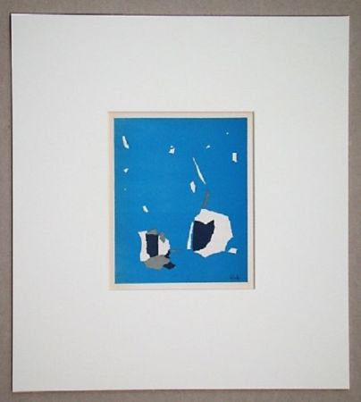 Lithographie De Stael - Composition sur fond bleu ciel