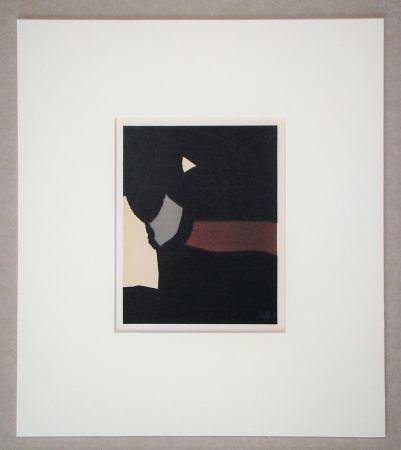 Lithographie De Stael - Composition sur fond noir