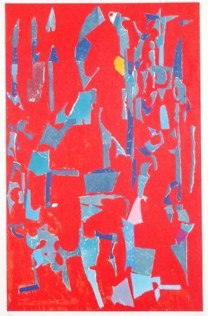 Lithographie Lanskoy - Composition sur fond rouge